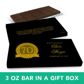 Deluxe Personalized Birthday 70th Milestones Seal Belgian Chocolate Bar in Gift Box (3oz Bar)
