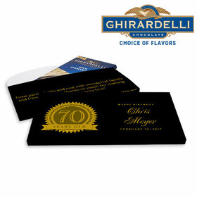 Deluxe Personalized Birthday 70th Seal Ghirardelli Chocolate Bar in Gift Box