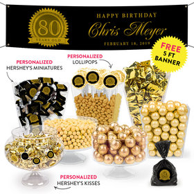 Personalized Milestone 80th Birthday Seal Deluxe Candy Buffet