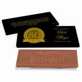 Deluxe Personalized Birthday 80th Milestones Seal Chocolate Bar in Gift Box