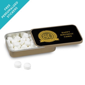 Milestones Personalized Mint Tin 80th Birthday Favors (12 Pack)