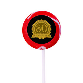 Milestones Personalized Small Swirly Pop 80th Birthday Favors (24 Pack)