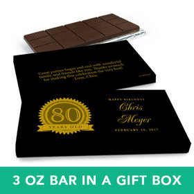 Deluxe Personalized Birthday 80th Milestones Seal Belgian Chocolate Bar in Gift Box (3oz Bar)