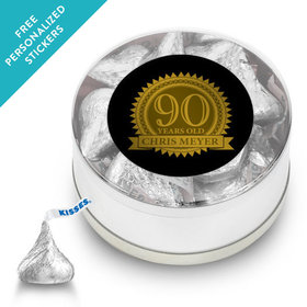 Milestones Personalized Small Silver Plastic Tin 90th Birthday Favors (25 Pack)