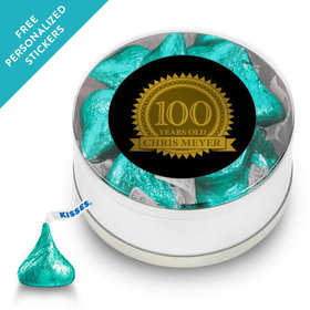 Milestones Personalized Small Silver Plastic Tin 100th Birthday Favors (25 Pack)