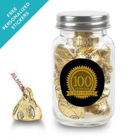 Milestones Personalized Mason Jar 100th Birthday Favors (24 Pack)