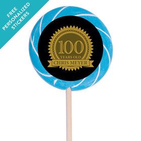 "Milestones Personalized 3"" Swirly Pop 100th Birthday Favors (12 Pack)"
