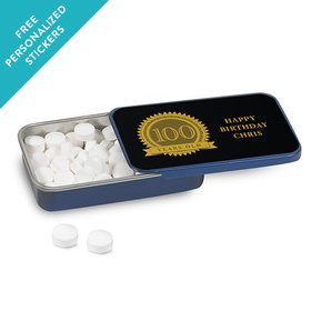 Milestones Personalized Mint Tin 100th Birthday Favors (12 Pack)