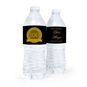 Personalized Milestones Birthday 100th Seal of Experience Water Bottle Sticker Labels (5 Labels)
