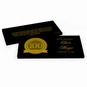 Deluxe Personalized Birthday 100th Milestones Seal Hershey's Chocolate Bar in Gift Box