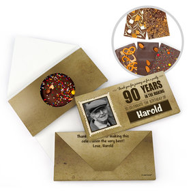 Personalized Milestone Birthday 90th Years to Perfection Gourmet Infused Belgian Chocolate Bars (3.5oz)