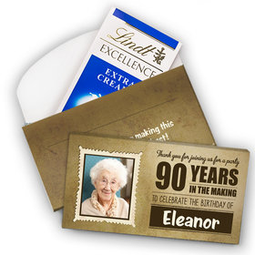 Deluxe Personalized Milestone 90th Birthday Years in the Making Lindt Chocolate Bar in Gift Box (3.5oz)