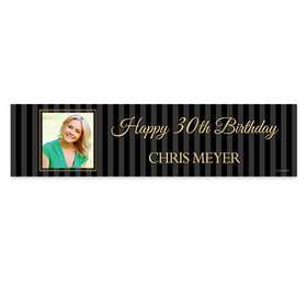 Personalized Birthday 30th Pinstripe Photo Banner