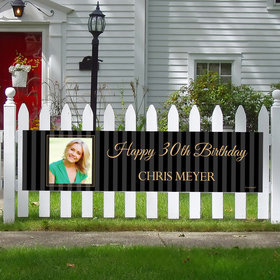 Personalized Birthday 30th Pinstripe Photo 5 Ft. Banner