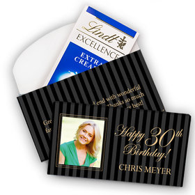 Deluxe Personalized Milestone 30th Birthday Photo Pinstripes Lindt Chocolate Bar in Gift Box (3.5oz)