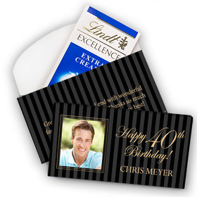 Deluxe Personalized Milestone 40th Birthday Photo Pinstripes Lindt Chocolate Bar in Gift Box (3.5oz)