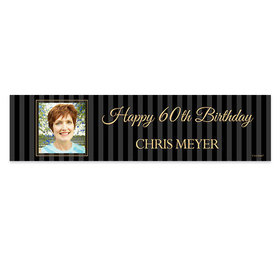 Personalized Birthday 60th Pinstripe Photo Banner