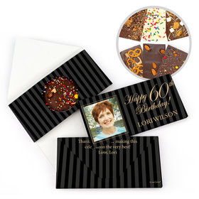 Personalized Milestone Birthday 60th Photo Pinstripes Gourmet Infused Belgian Chocolate Bars (3.5oz)