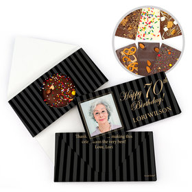 Personalized Milestone Birthday 70th Photo Pinstripes Gourmet Infused Belgian Chocolate Bars (3.5oz)