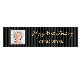 Personalized Birthday 80th Pinstripe Photo Banner