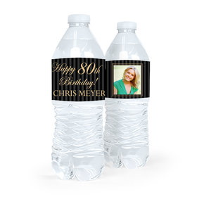 Personalized Milestones Birthday Photo 80th Water Bottle Sticker Labels (5 Labels)