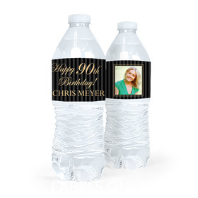 Personalized Milestones Birthday Photo 90th Water Bottle Sticker Labels (5 Labels)