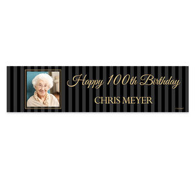 Personalized Birthday 100th Pinstripe Photo Banner