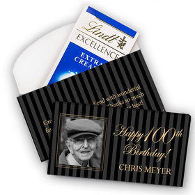 Deluxe Personalized Milestone 100th Birthday Photo Pinstripes Lindt Chocolate Bar in Gift Box (3.5oz)