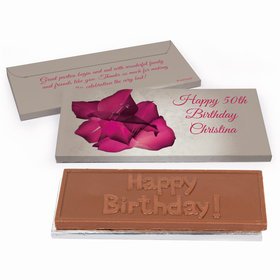 Deluxe Personalized Adult Birthday Large Flower Chocolate Bar in Gift Box