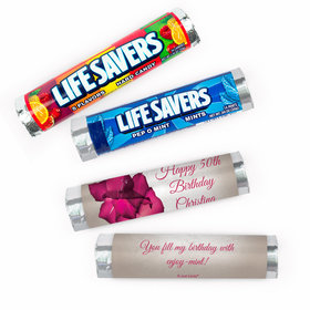 Personalized Birthday Large Flower Lifesavers Rolls (20 Rolls)