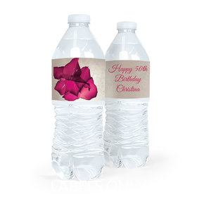 Personalized Birthday Flower Water Bottle Sticker Labels (5 Labels)