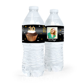 Personalized Milestones Birthday 30th Cupcake Water Bottle Sticker Labels (5 Labels)