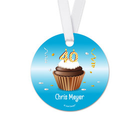 Personalized Round Birthday 40th Birthday Cupcake Favor Gift Tags (20 Pack)