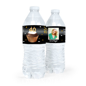 Personalized Milestones Birthday 40th Cupcake Water Bottle Sticker Labels (5 Labels)