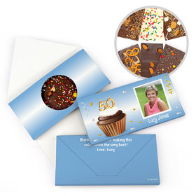 Personalized Milestone Birthday 50th Cupcake Photo Gourmet Infused Belgian Chocolate Bars (3.5oz)
