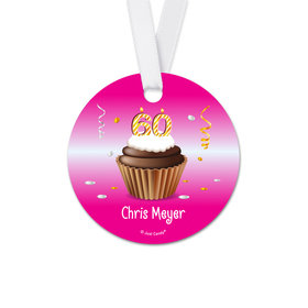Personalized Round Birthday 60th Birthday Cupcake Favor Gift Tags (20 Pack)