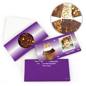Personalized Milestone Birthday 60th Cupcake Photo Gourmet Infused Belgian Chocolate Bars (3.5oz)