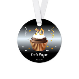 Personalized Round Birthday 70th Birthday Cupcake Favor Gift Tags (20 Pack)