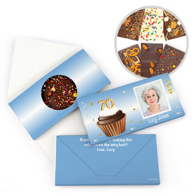 Personalized Milestone Birthday 70th Cupcake Photo Gourmet Infused Belgian Chocolate Bars (3.5oz)
