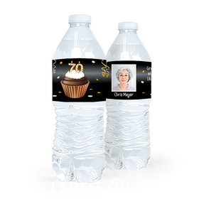 Personalized Milestones Birthday 70th Cupcake Water Bottle Sticker Labels (5 Labels)