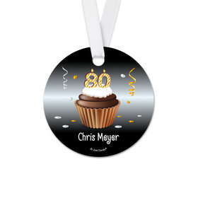 Personalized Round Birthday 80th Birthday Cupcake Favor Gift Tags (20 Pack)