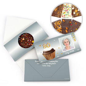 Personalized Milestone Birthday 80th Cupcake Photo Gourmet Infused Belgian Chocolate Bars (3.5oz)