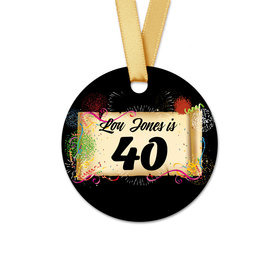 Personalized Round Birthday 40th Confetti Favor Gift Tags 20 Pack