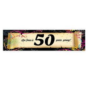 Personalized Birthday Confetti 50th 5 Ft. Banner