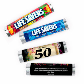 Personalized 50th Confetti Lifesavers Rolls (20 Rolls)