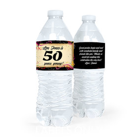 Personalized Milestones Birthday 50th Confetti Water Bottle Sticker Labels (5 Labels)