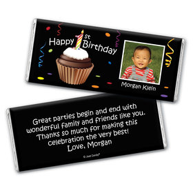 Birthday Personalized Chocolate Bar Wrappers Photo Cupcake 1st