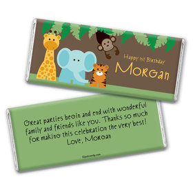 Birthday Personalized Chocolate Bar Wrappers Jungle Safari Animals
