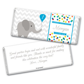 Birthday Personalized Chocolate Bar Wrappers Chevron Dots Elephant