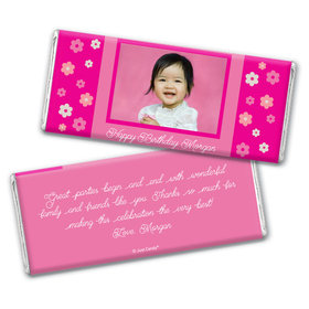Birthday Personalized Chocolate Bar Wrappers Flowers & Photo